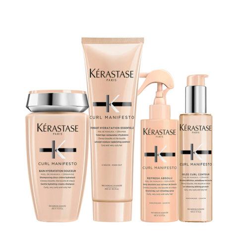 Kerastase Curl Manifesto Kit Lockiges Haar Shampoo250ml Conditioner250ml Öl50ml Spray150ml