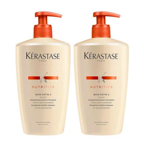 Kerastase Nutritive Bain Satin 2 Kit 2 Shampoo für feines oder dickes trockenes und strapaziertes Haar 500ml+500ml