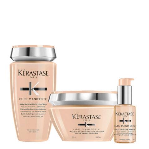 Kerastase Curl Manifesto Kit Shampoo 250ml Maske 200ml L'Huile Precieuse 50ml