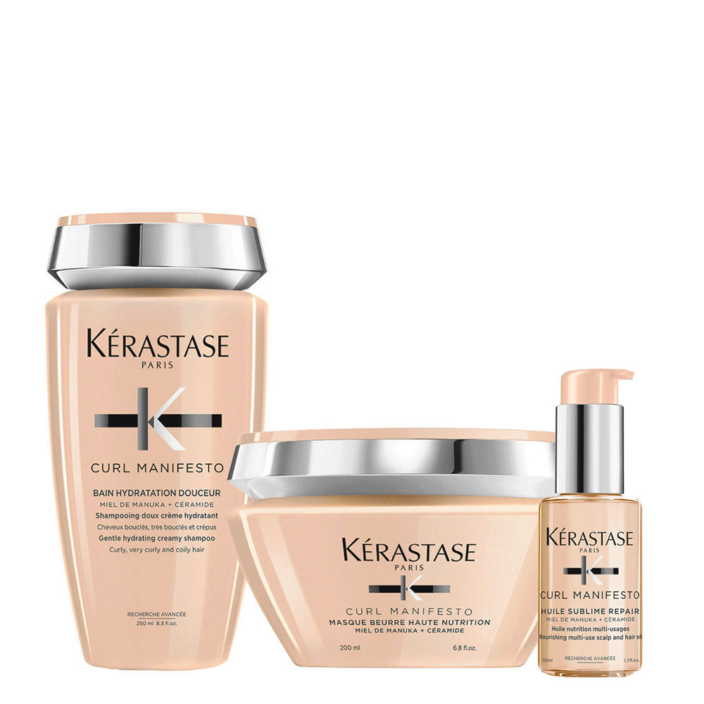 Kerastase Curl Manifesto Kit Shampoo 250ml Masque  200ml L'Huile Precieuse 50ml