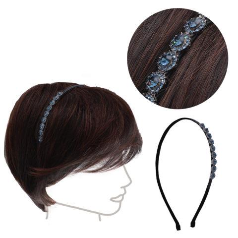 VIAHERMADA Haarband mit blauen Kristallen und seitlichem Strass