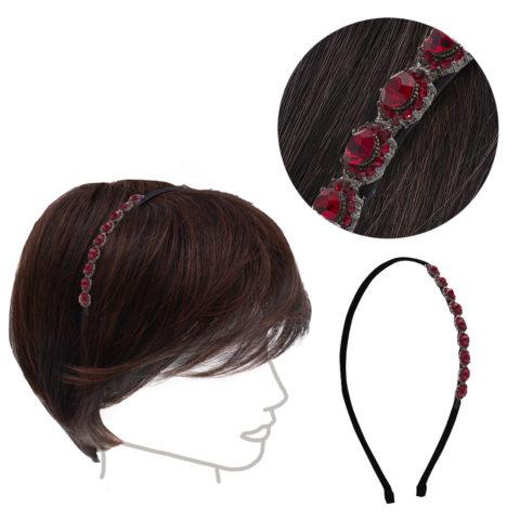 VIAHERMADA Haarband mit roten seitlichen Kristallen und Strasssteinen