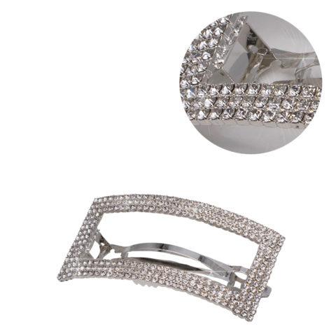 VIAHERMADA Matic Silberne Rechteckige Haarspange mit Strass