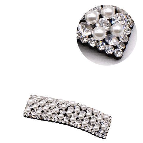 VIAHERMADA Rechteckige Clic Clac Haarspange mit Strass und Perlen