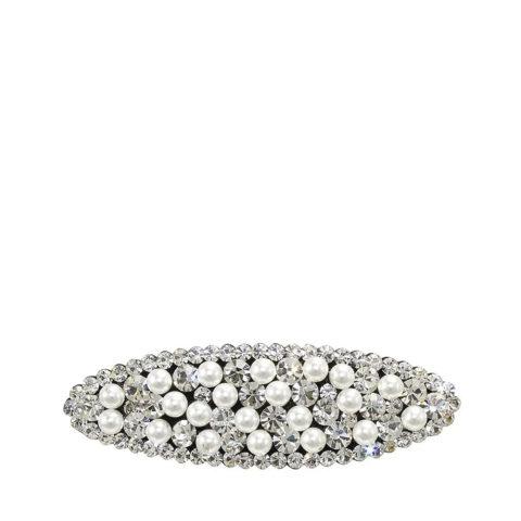 VIAHERMADA Ovale Clic Clac Haarspange mit Strass und Perlen