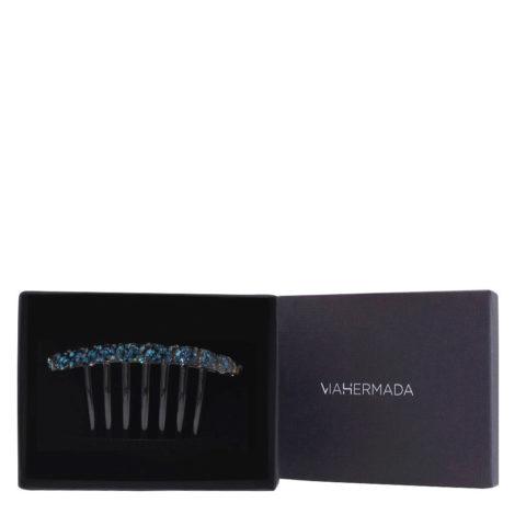 VIAHERMADA Kammclip aus Kunststoff mit blauen Kristallen