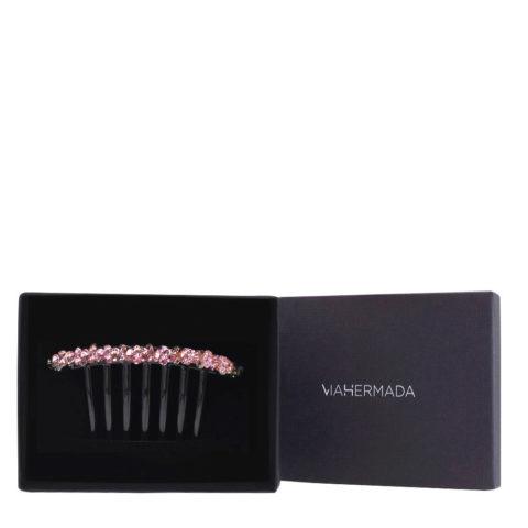 VIAHERMADA Kamm-Haarspange aus Kunststoff mit rosa Kristallen