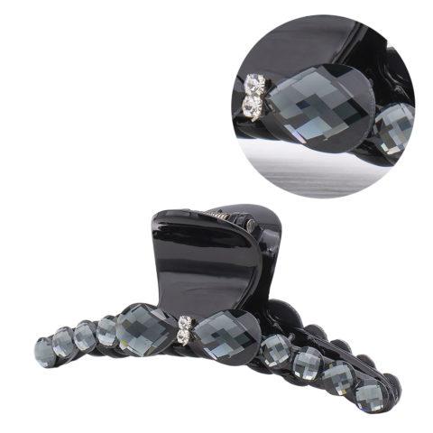 VIAHERMADA Haarspange mit anthrazitfarbener Kristallschleife