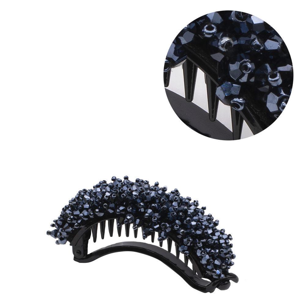 VIAHERMADA Bananen-Haarspange mit blauen Kristallen