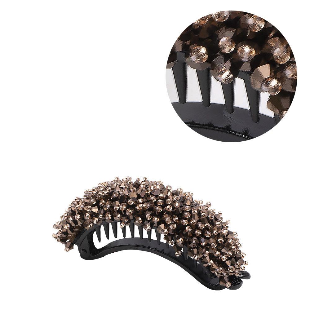 VIAHERMADA Bananen-Haarspange mit Bronzekristallen