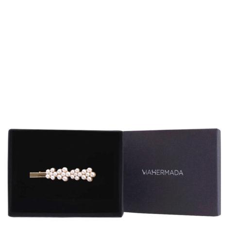 VIAHERMADA Haarspange mit Perlen 8cm