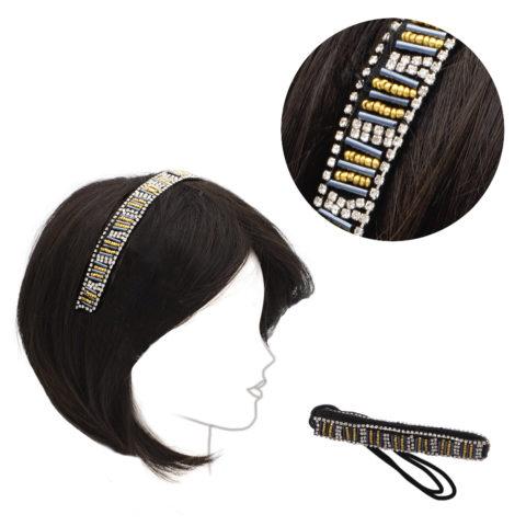 VIAHERMADA Elastisches Stirnband mit goldenen & schwarzen Metallperlen