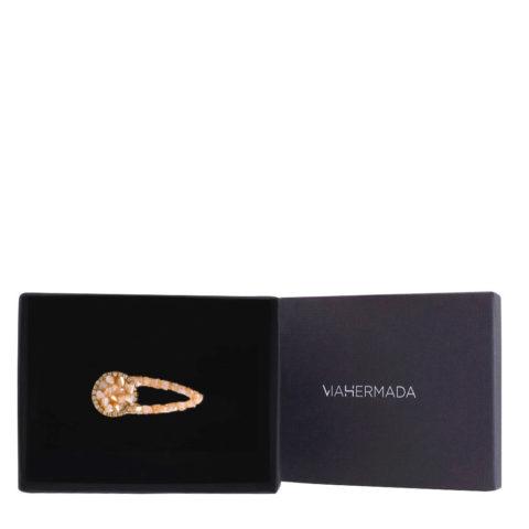 VIAHERMADA Haarspange mit Strasssteinen und Multi Faceted Pink Glas 5.5cm