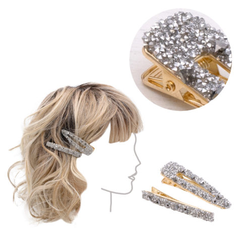 VIAHERMADA  Set aus zwei goldenen Metallclips mit silbernen Strasssteinen