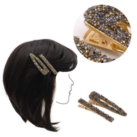 VIAHERMADA Set aus zwei goldenen Metallclips mit goldenen und anthrazitfarbenen Strasssteinen