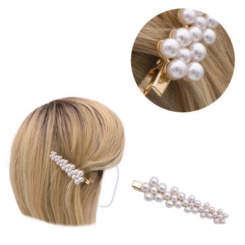 VIAHERMADA Haarspange Golden mit Perlen 8x2cm