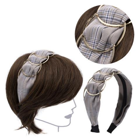 VIAHERMADA Beigefarbenes Schachgewebe-Haarband mit goldenen Metallringen