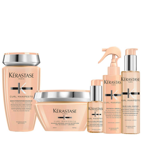 Kerastase Curl Manifesto Kit Shampoo250ml Maske200ml L'Huile Precieuse50ml Spray150ml Creme150ml