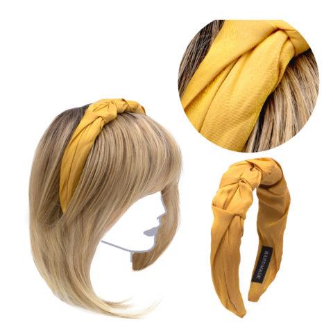 VIAHERMADA Handgemachtes Stirnband aus gelbem Stoff