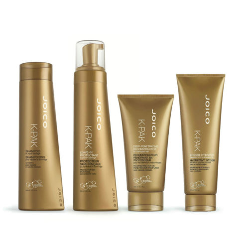 Joico K-Pak New Reconstruction therapy 4 steps: Shampoo, Leave-in protectant, Deep penetrating reconstructor, Intense hy